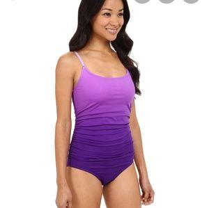 Speedo ombre shirred one piece royal purple sz 10